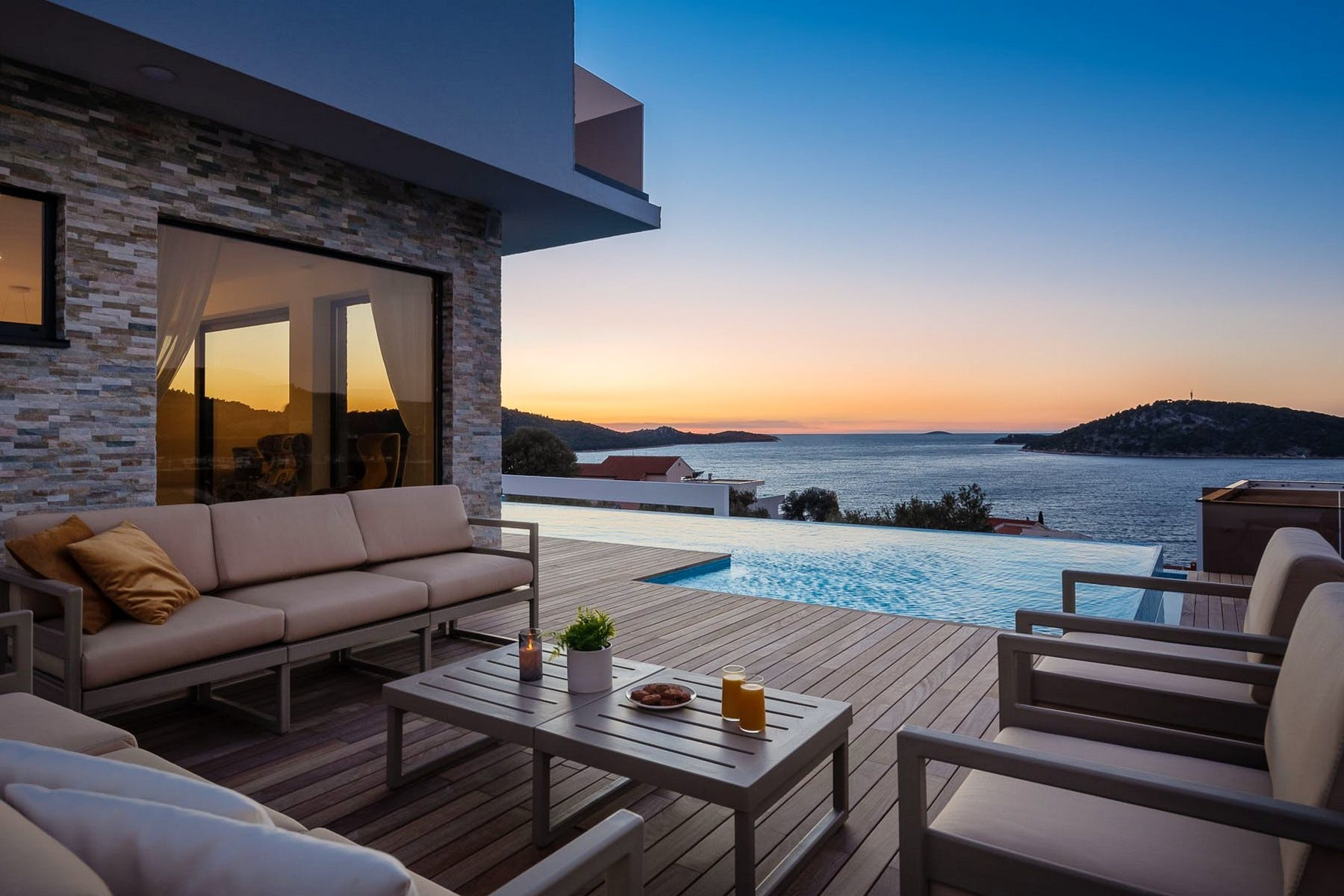 Sunset and sea view from the villa