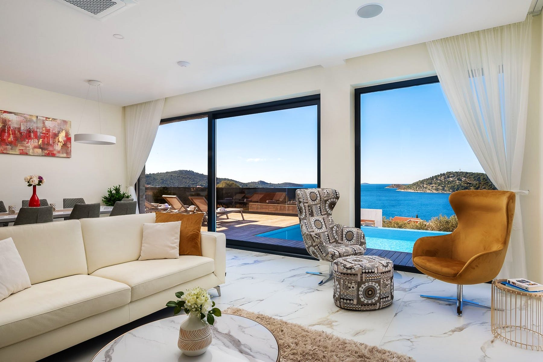 Moden and comfortable living room with sea view