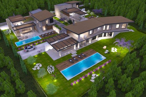3 villas with open sea view in Istria